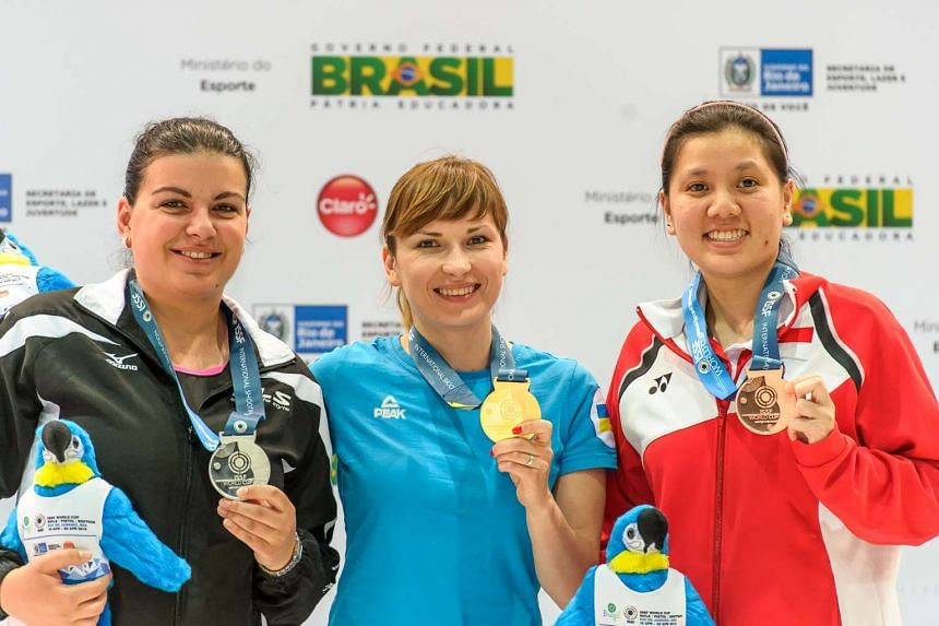Shooter Teo Shun Xie (right) won a bronze in the women's 10m air pistol event at the International Shooting Sport Federation World Cup in Rio de Janeiro.