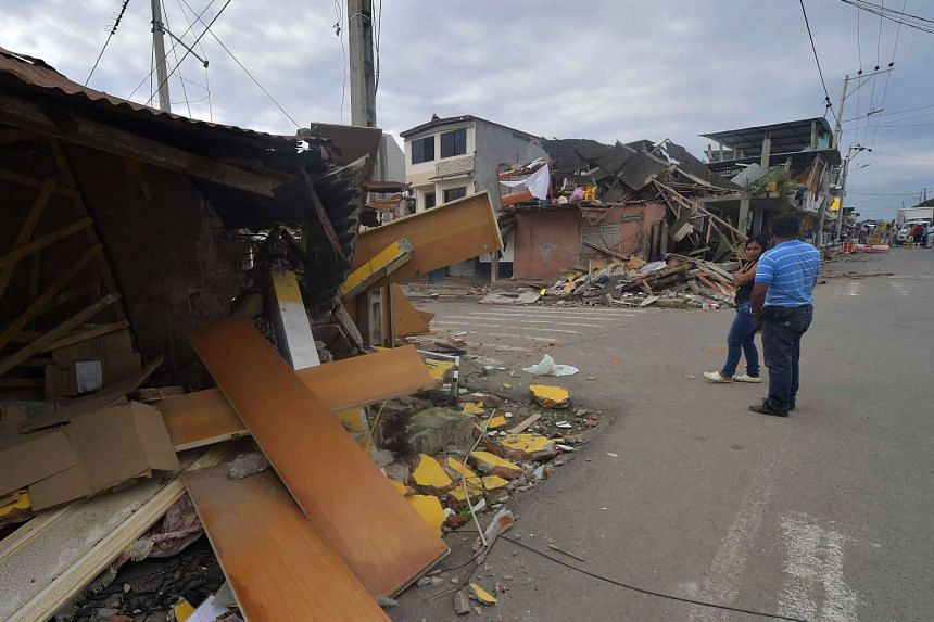 The scene at Pedernales, Ecuador, on April 17, 2016, a day after a 7.8-magnitude quake hit the country.