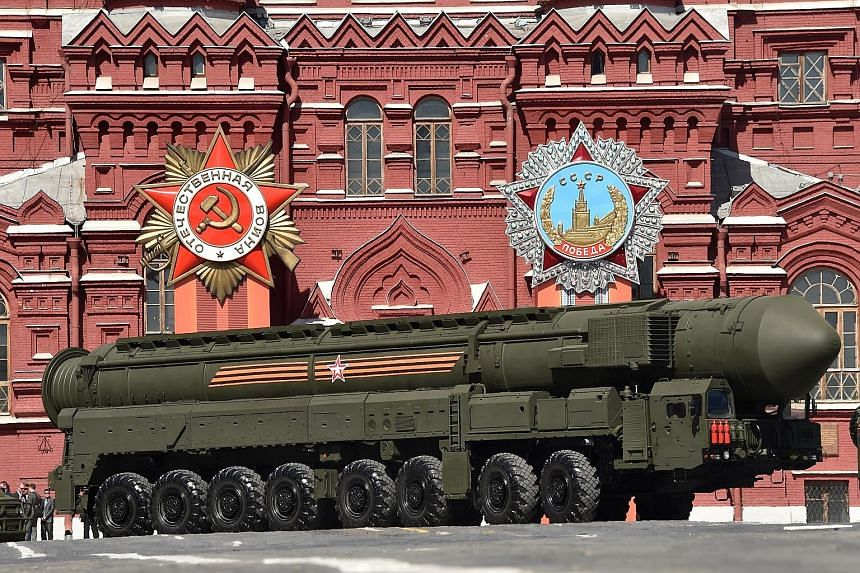 A Russian Yars RS-24 intercontinental ballistic missile system being driven through Red Square, Moscow, in May last year. The pursuit of a new generation of smaller, less destructive nuclear weapons is, in large measure, an old dynamic playing out in