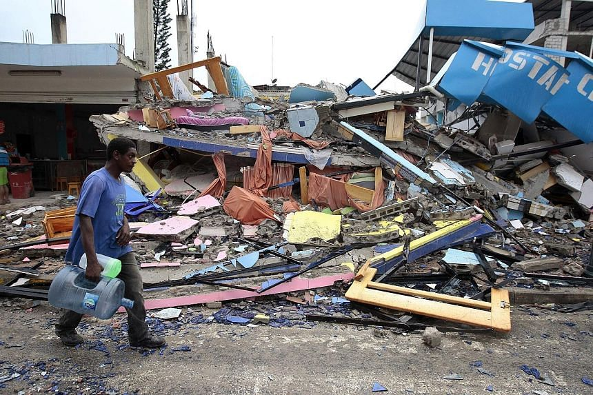 """Buildings in Pedernales town, Ecuador, collapsed during the 7.8-magnitude earthquake, which hit the South American country late on Saturday. Vice-President Jorge Glas yesterday said the death toll would likely rise in the """"worst seismic movement we h"""