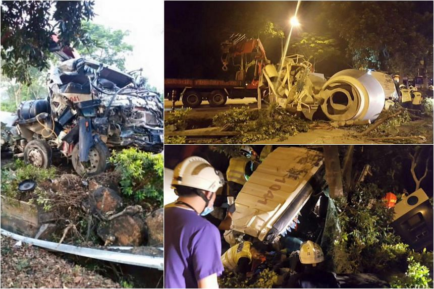 The cement mixer truck skidded before crashing into a centre divider and overturning.