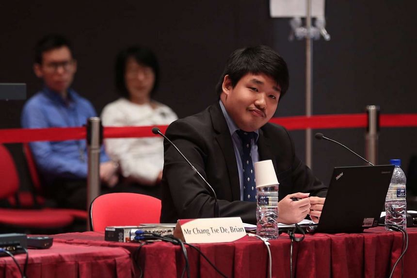Mr Brian Chang Tse De speaks during the Constitutional Commission 2016 public hearing.