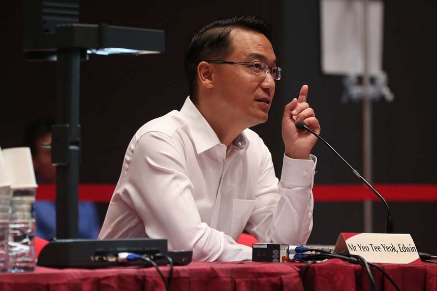 Mr Edwin Yeo Tee Yeok speaks during the Constitutional Commission 2016 public hearing.