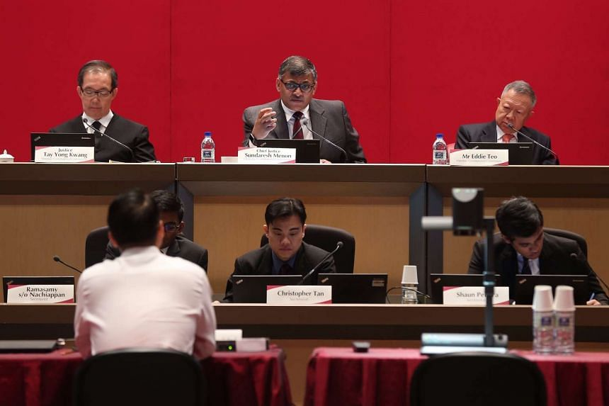 Chairman of the Constitutional Commission 2016 public hearing Chief Justice Sundaresh Menon (centre) speaking during the Constitutional Commission 2016 public hearing.