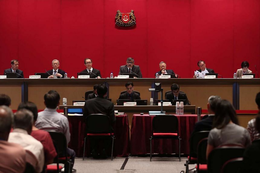 Constitutional Commission members (from left) Mr Abdullah Tarmugi, Mr Wong Ngit Liong, Justice Tay Yong Kwang, Chief Justice Sundaresh Menon, Mr Eddie Teo, Mr Peter Seah, and Professor Chan Heng Chee at the Constitutional Commission's first public he