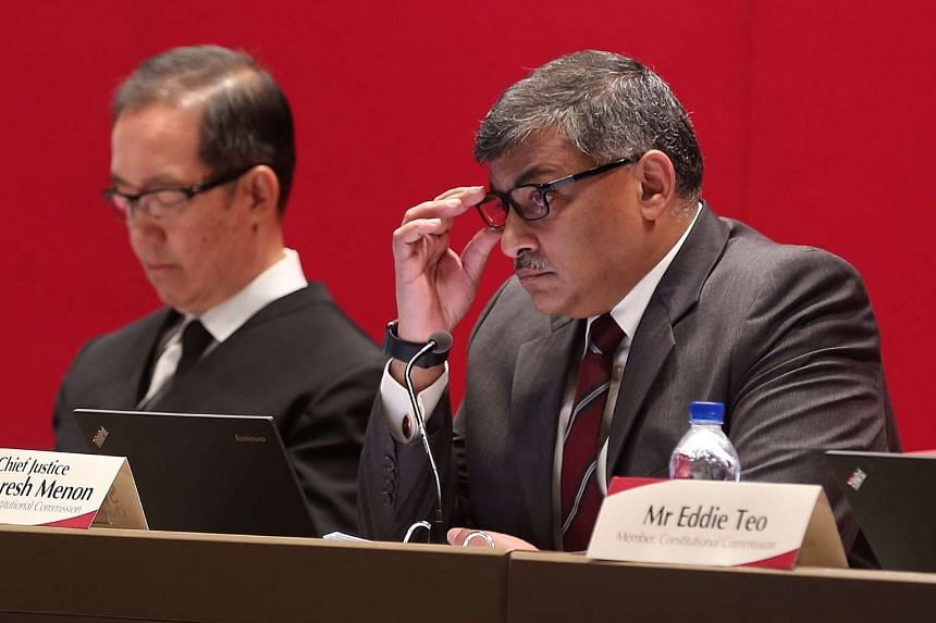 Justice Tay Yong Kwang (left) and Chairman of the Constitutional Commission 2016 public hearing Chief Justice Sundaresh Menon listening as Singapore Management University Law professor and former Nominated MP Eugene Tan speaks, on April 18, 2016.