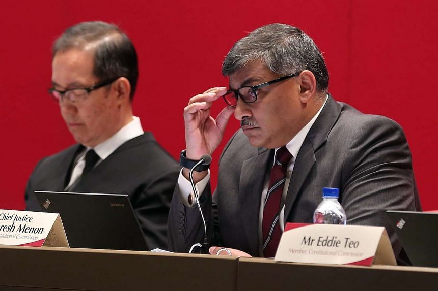 Chief Justice Sundaresh Menon listening during the Constitutional Commission's first public hearing on aspects of the Elected Presidency, on April 18, 2016.