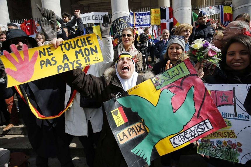 Muslims joined thousands of others in a rally against terror at the Place de la Bourse in Brussels on Sunday.