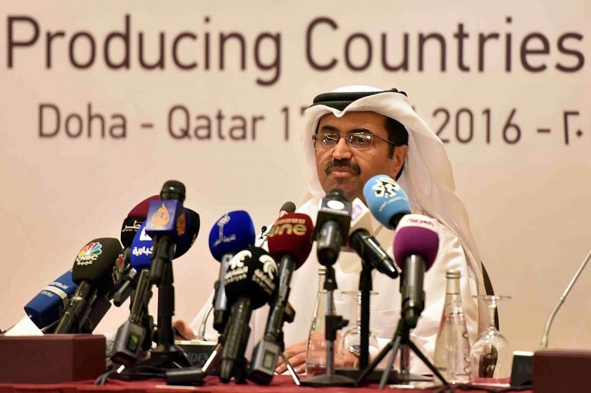 Qatar's Energy Minister Mohammed bin Saleh al-Sada at the press conference in Doha, on April 17, 2016.