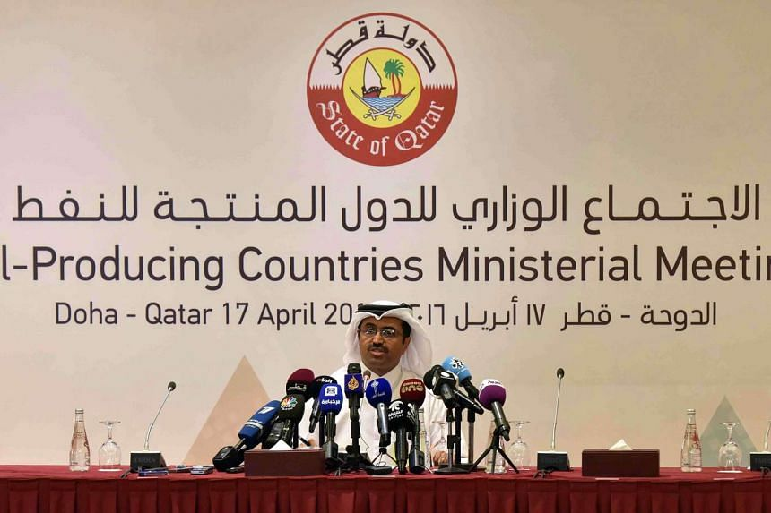 Qatar's Energy Minister Mohammed bin Saleh al-Sada holds a press conference during a meeting between major oil producing countries on April 17, 2016.