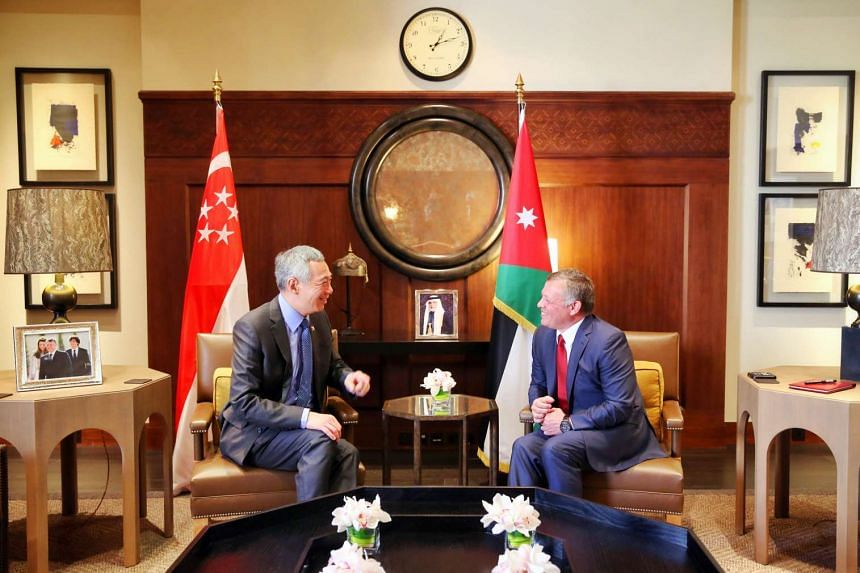 PM Lee meeting King Abdullah in Amman yesterday. The two leaders reaffirmed the warm and friendly relations between their countries.