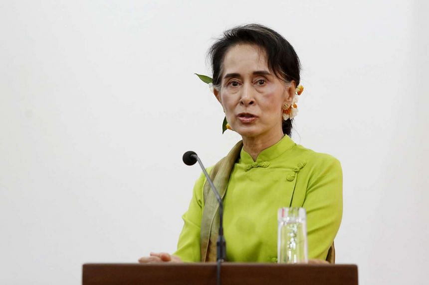 Myanmar's Aung San Suu Kyi addresses the media during a press conference at the Ministry of Foreign Affairs in Naypyitaw, Myanmar, on April 7, 2016.