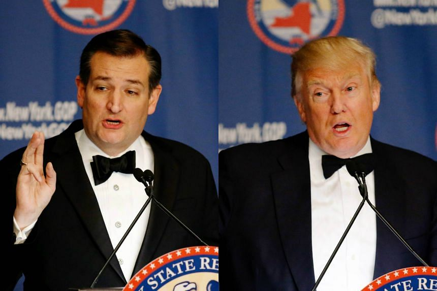 US presidential hopeful Ted Cruz (left) and rival Donald Trump speaking at the 2016 New York State Republican Gala in New York City, on April 14, 2016. .
