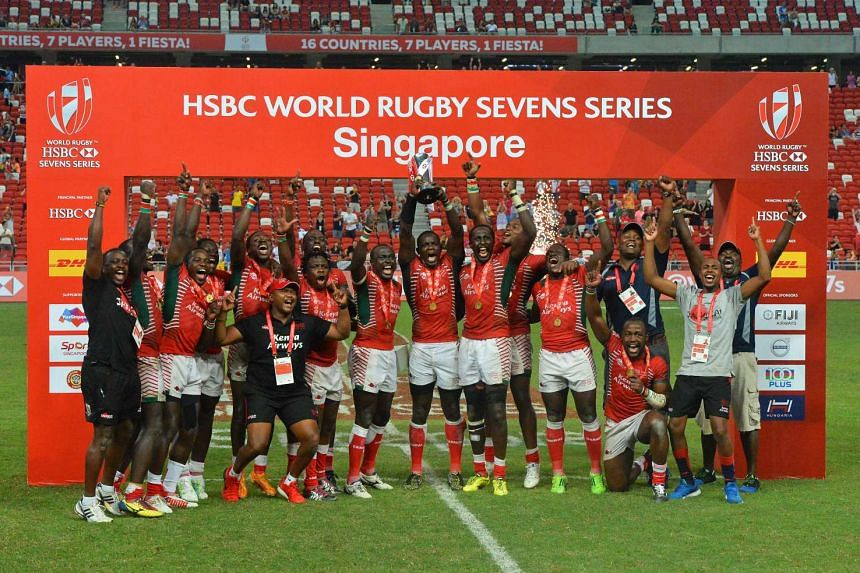 Kenya's players react after winning the Cup Final between Kenya and Fiji at the Singapore Rugby Sevens, on April 17, 2016.
