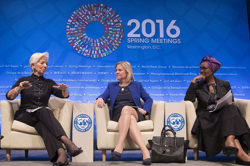 (Left to right)  International Monetary Fund Managing Director Christine Lagarde , Oxfam International Executive Director Winnie Byanyima and Columbia University Professor Joseph Stiglitz at the Fiscal Forum 2016 seminar at the IMF/World Bank Spring