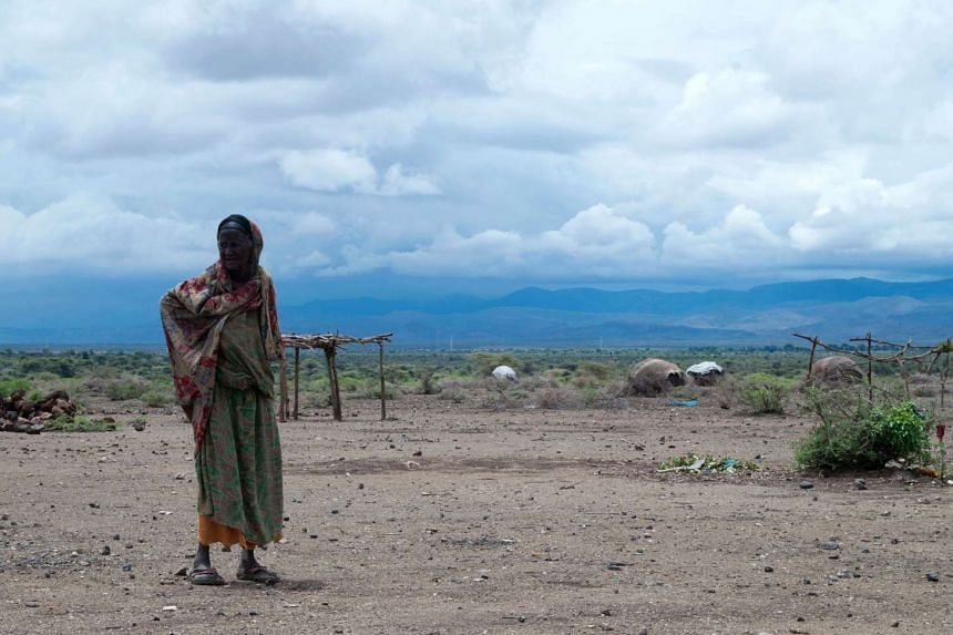A woman walking in the drought-affected Sitti Zone in Ethiopia's Somali Region, on April 16, 2016.