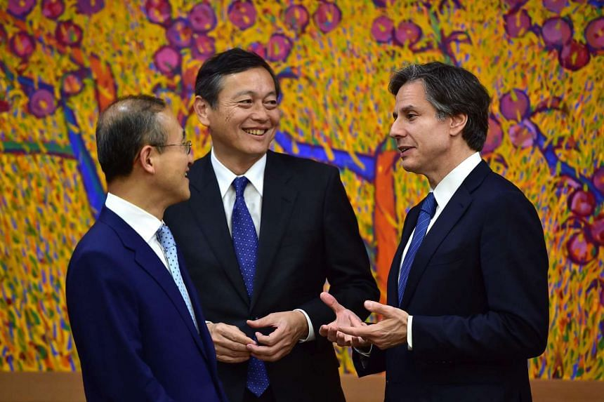 South Korean Vice Foreign Minister Lim Sung Nam (left), US Deputy Secretary of State Tony Blinken (right) and Japanese Vice Foreign Minister Akitaka Saiki (centre), held talks on North Korea on April 19.