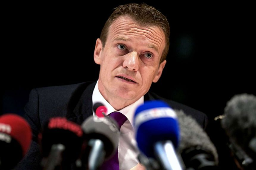 Coordinating Unit for Threat Analysis' Belgian chairman Paul Van Tigchelt, gives a press conference a month after the Brussels terror attacks, on April 19.