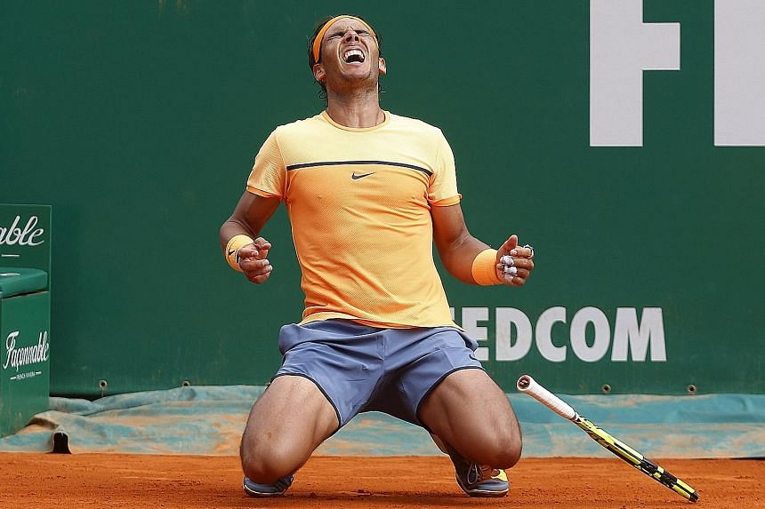 An ecstatic Rafael Nadal of Spain after beating Gael Monfils of France on Sunday to win his ninth Monte Carlo Masters title. An older, injury-prone Nadal has modified his game, patiently wearing down his opponents despite numerous unforced errors.