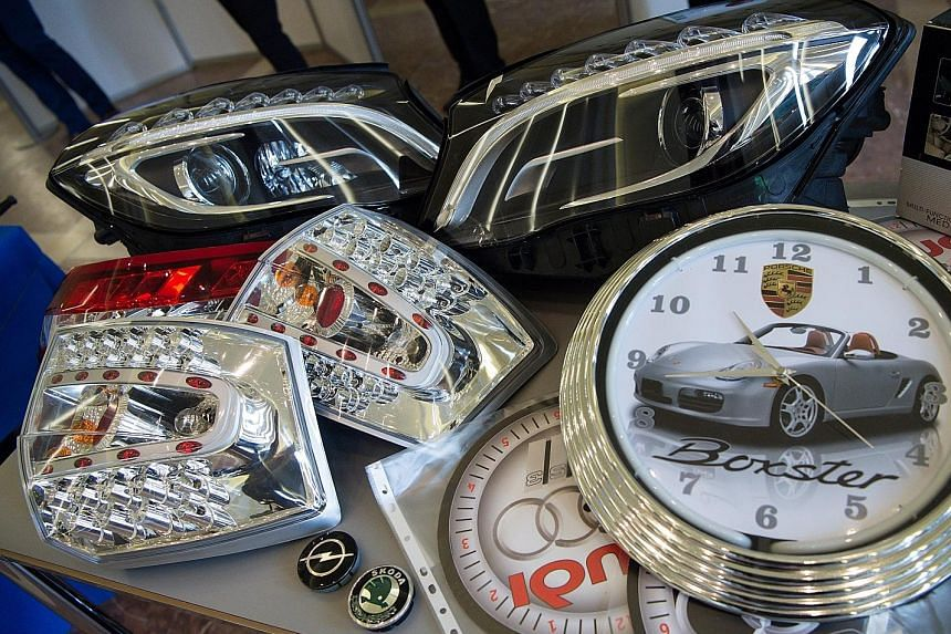 An OECD study last year concluded that the trade in fakes - such as these counterfeit car parts - was almost the world's most profitable criminal activity.