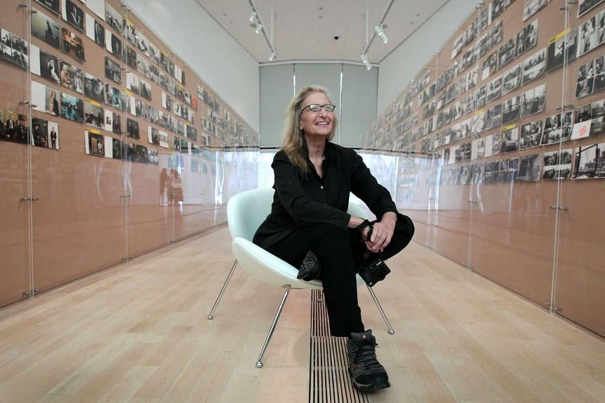 "Annie Leibovitz in Singapore to launch her exhibition ""Annie Leibovitz A Photographer's Life 1990-2005"" at the ArtScience Museum on April 16, 2016."