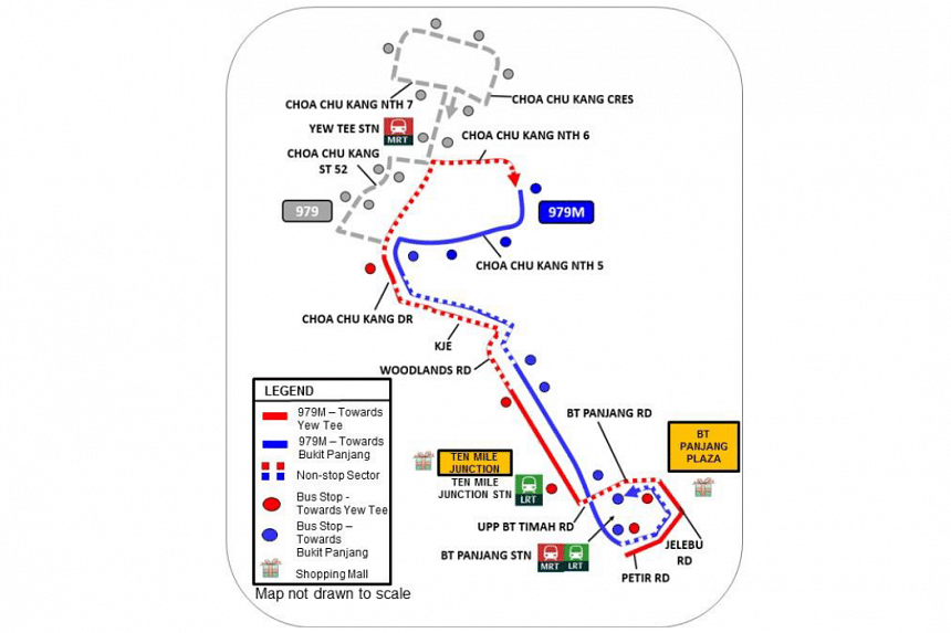 The route of bus service number 979M linking Bukit Panjang MRT and LRT stations to Choa Chu Kang North 5.
