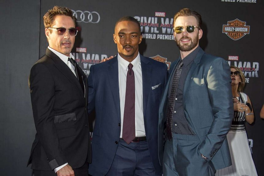 (From left) Robert Downey Jr, Anthony Mackie and Chris Evans at the Disney premiere of Captain America: Civil War in Hollywood. Mackie and Evans will be in Singapore this week to promote the movie.