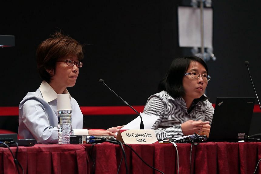 Representatives from Association of Women for Action and Research (Aware) Ms Corinna Lim (left) and Ms Jolene Tan at the Constitutional Commission 2016 public hearing, on April 18, 2016.