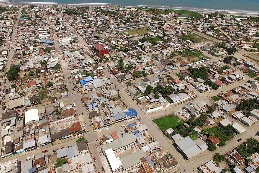 Aerial view of Pedernales, one of Ecuador's worst-hit towns, taken on April 18, 2016.