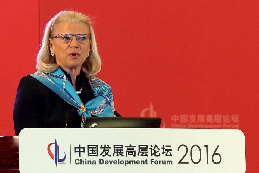 Chairman, president and CEO of IBM Ginni Rometty at the China Development Forum in Beijing, on March 21, 2016.