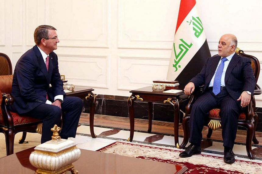 Iraqi Prime Minister Haider al-Abadi (right) meeting with US Defence Secretary Ashton Carter in Baghdad, Iraq, on April 18, 2016.