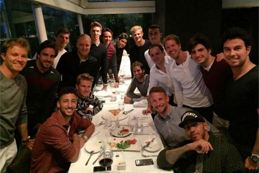 Daniel Ricciardo's instagram shows a photograph of all 17 drivers having a meal at a restaurant in Shanghai.