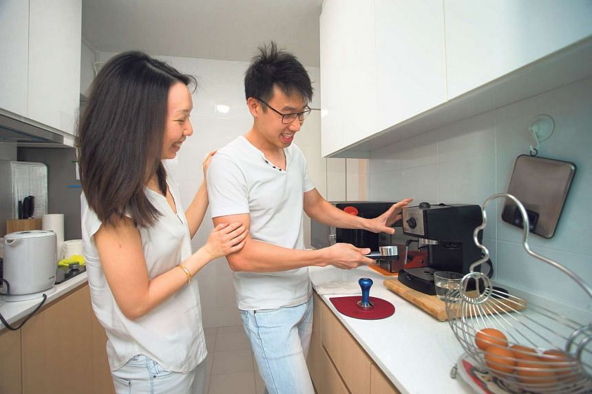 Mr Leow Guan Jad, 30, and Ms Yee Ming Yi, 29, applied for their three-room BTO flat, Skyville@Dawson in 2009, and moved in this year.