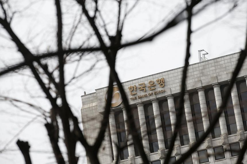 The logo of the Bank of Korea is seen on the top of its building in Seoul.