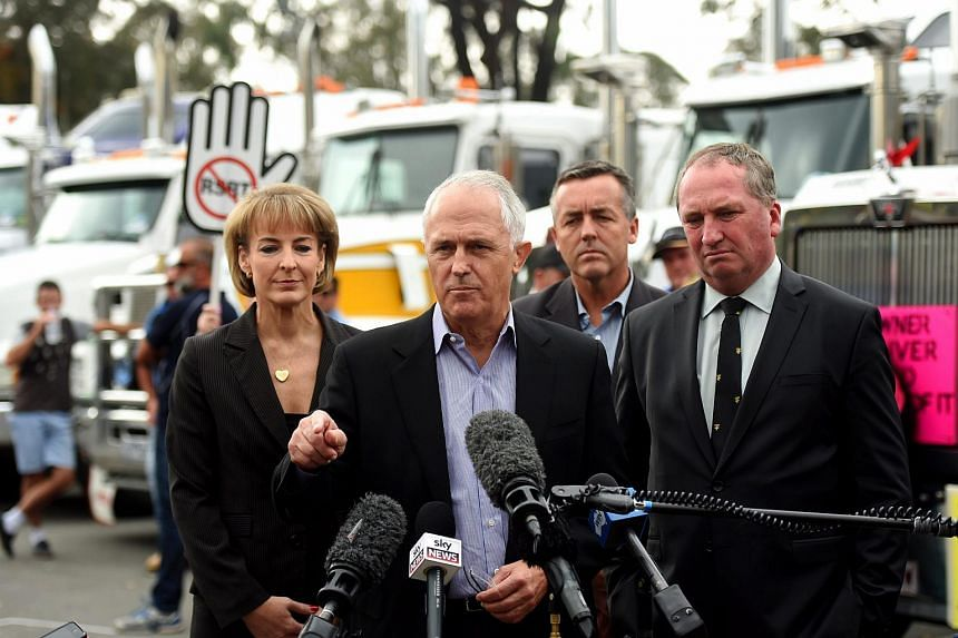 Australian Prime Minister Malcolm Turnbull addresses a rally organised by owner driver trucking companies in Canberra, Australia, on April 17, 2016.