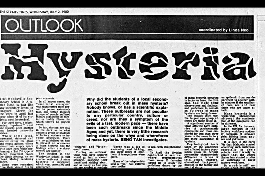 A July 2, 1980, ST article examining the phenomenon of mass hysteria.