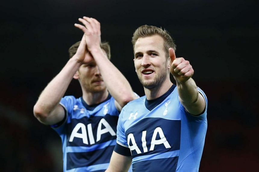 Tottenham's Harry Kane celebrates at the end of the match.