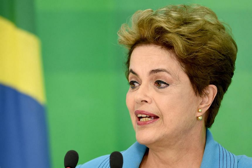 Brazilian President Dilma Rousseff speaks during a press conference at Planalto Palace, on April 18, 2016.