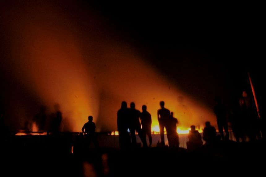 A fire broke out in a furniture factory owned by Indonesian President Joko Widodo on April 19, 2016.