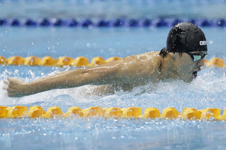 Dylan Koo of Anglo-Chinese School (Independent) swims in the boys 17 and over 100m butterfly A division of the 57th National Schools Swim Championship at OCBC Aquatic Centre on April 20, 2016.