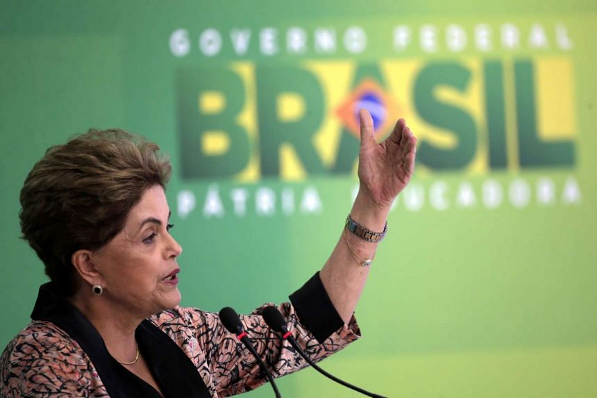 Brazilian President, Dilma Rousseff, talks during a press conference with foreign media in Brasilia, Brazil, on April 19, 2016.
