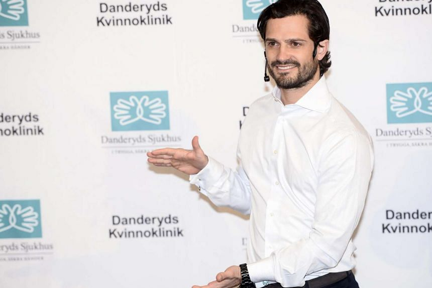 Prince Carl Philip announces the birth of his son, at the Danderyd hospital in Stockholm, Sweden, on April 19, 2016.