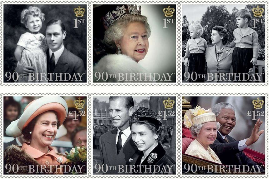 Six stamps issued by the Royal Mail to mark the 90th birthday of Britain's Queen Elizabeth II.