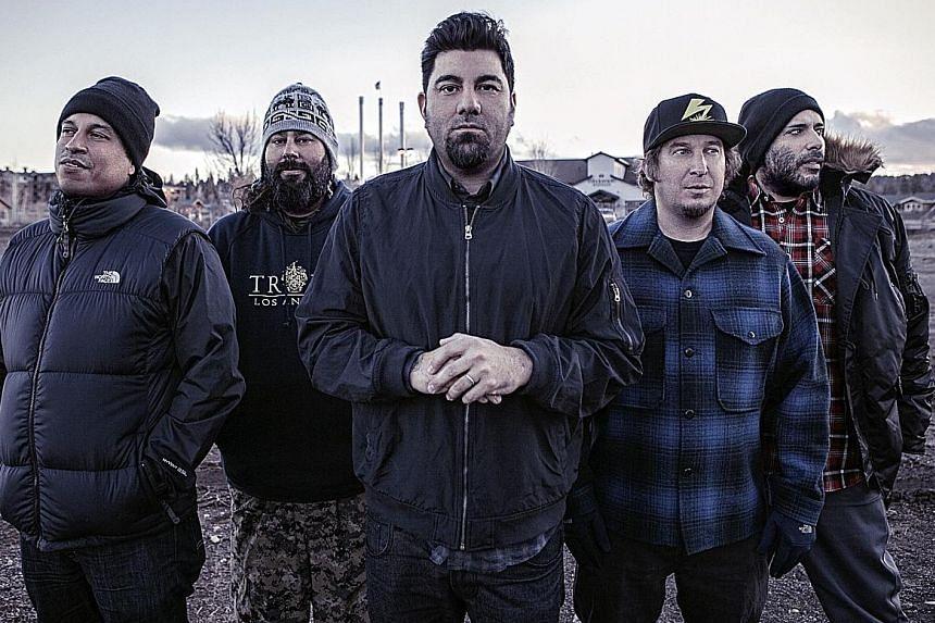 Deftones comprise (from left) Sergio Vega, Stephen Carpenter, Chino Moreno, Abe Cunningham and Frank Delgado.