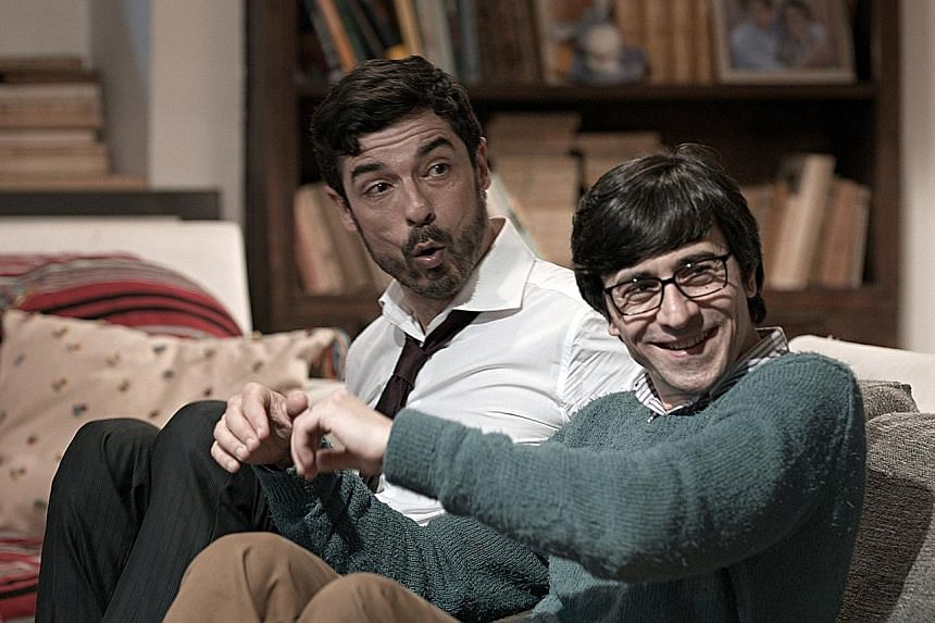 Alessandro Gassmann (left) plays Paolo, who announces his baby's name at a dinner party, and Luigi Lo Cascio plays Sandro, a liberal writer.