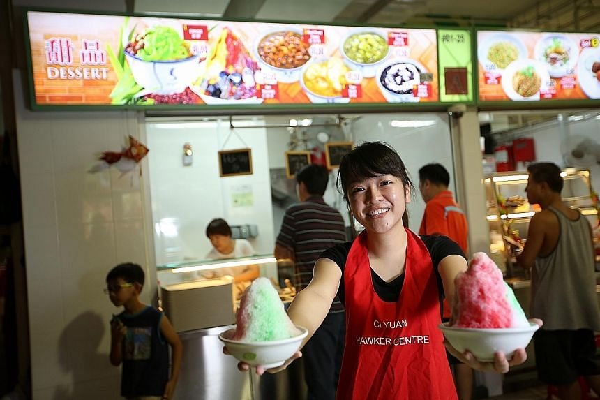 Ms Aericurl Chng, 23, is her own boss at her dessert stall at Hougang's Ci Yuan hawker centre, serving up ice kacang and chendol. She comes from an entrepreneurship programme where young hawker hopefuls are trained to start their own businesses. The