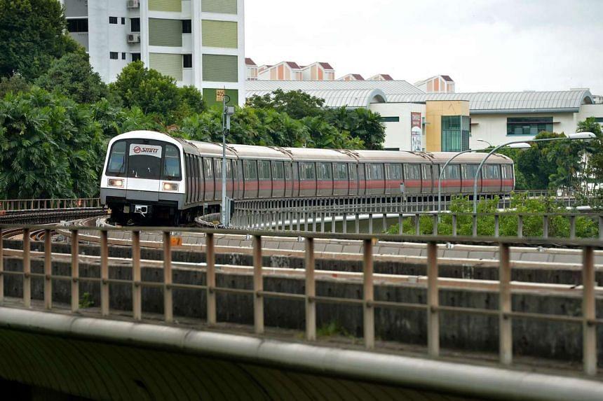 A train travelling along the North-South Line between Bishan and Ang Mo Kio stations.