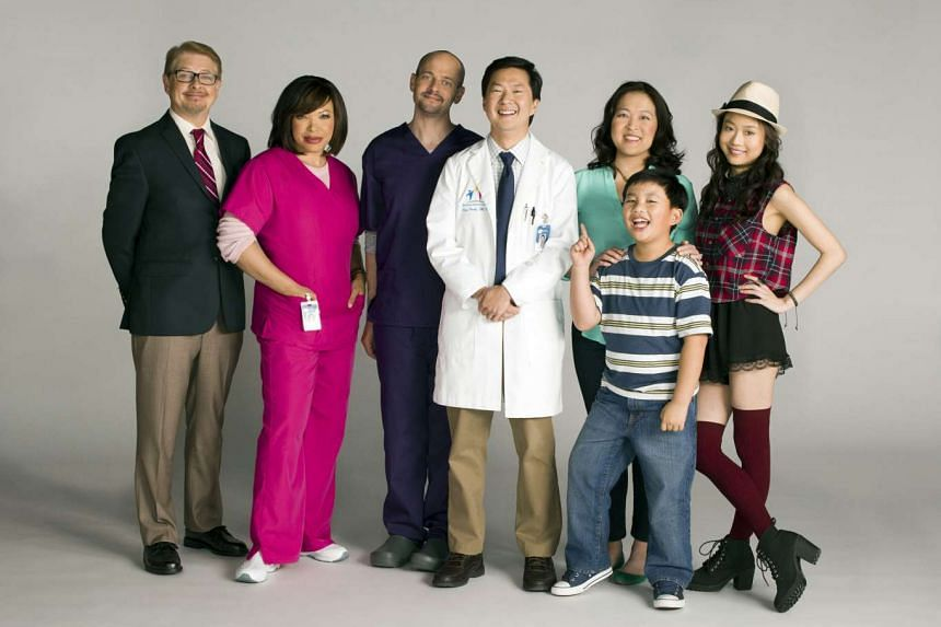 Ken Jeong (above centre, in doctor's coat) based his doctor character in Dr. Ken on his personal experience as a general practitioner, a job he gave up to pursue acting and comedy.