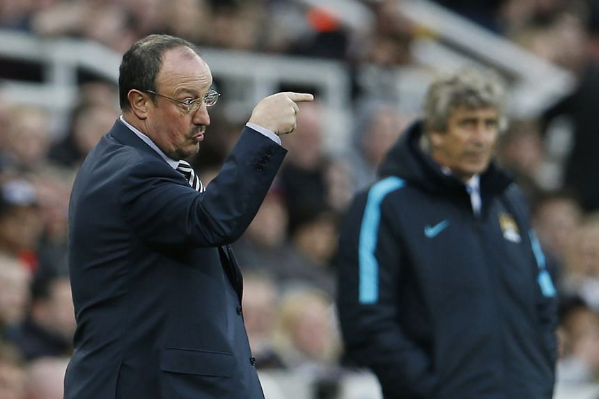Newcastle manager Rafael Benitez at a football match between  Newcastle United and Manchester City on April 19, 2016.