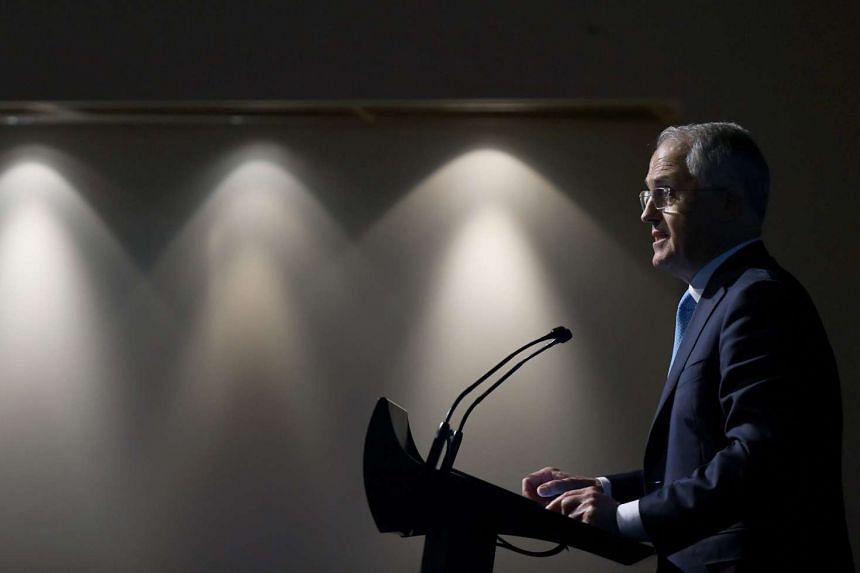 Australian Prime Minister Malcolm Turnbull announces the federal government's Cyber Security Strategy at the Australian Technology Park in Sydney, on April 21, 2016.